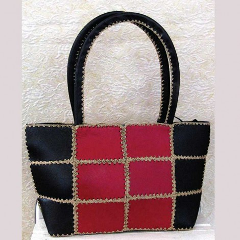 Weaved Black & Red Leather Bag